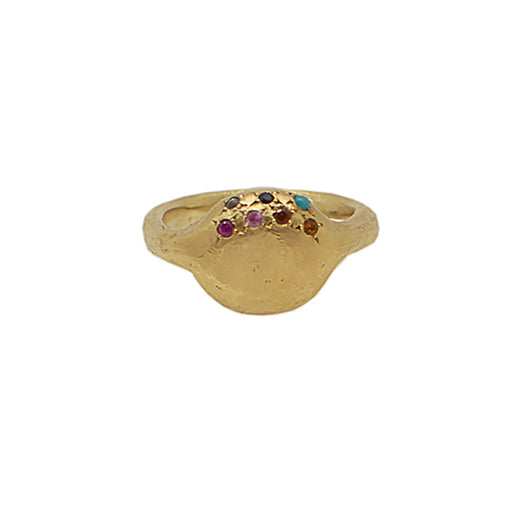 9 CT Gold Button Ring with Gemstones
