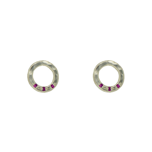 Sterling Silver Circle Studs with Rubies