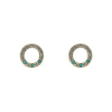 Sterling Silver Circle Studs with Turquoise