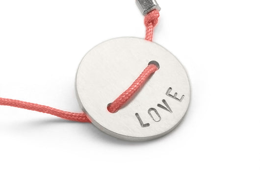Coral: Button Bracelet - Love