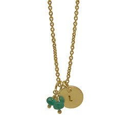 9 CT Gold Disc Necklace with Emeralds