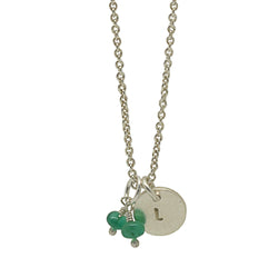 Sterling Silver Personalised Disc Necklace with Emeralds