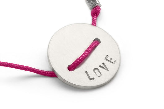 Fuschia: Button Bracelet - Love