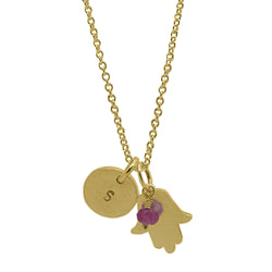 18 CT Plated Gold Personalised Hamsa Necklace