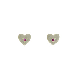 Sterling Silver Heart Studs with Rubies