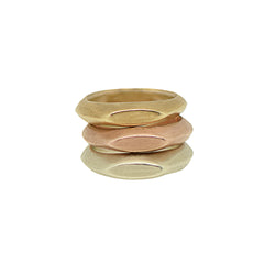 Set of 3 Knife Edge Gold Rings