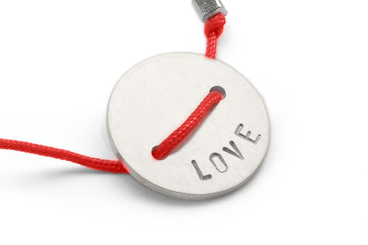 Red: Button Bracelet - Love