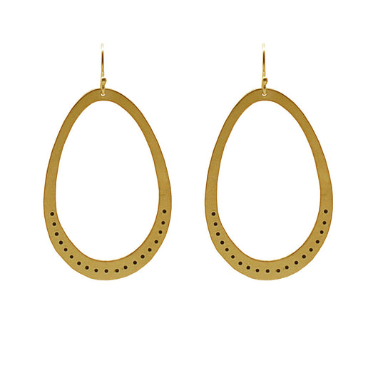 24K Plated Gold Large Ovals with Dots