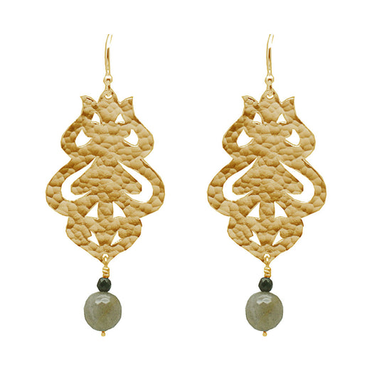 24k Plated Gold Moroccan Flame Earrings with Labradorite Gemstones