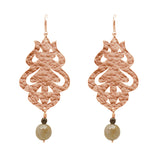 24k Plated Rose Gold Moroccan Flame Earrings with Labradorite Gemstones