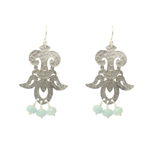 Sterling Silver Moroccan Scroll Earrings with Amazonite Gemstones