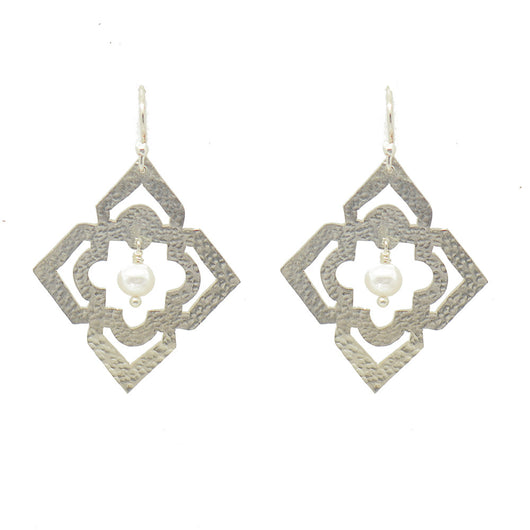 Sterling Silver Moroccan Window Earrings with Pearls