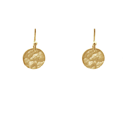 24K Plated Gold Hammered Disc Earrings