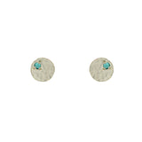 Sterling Silver Sequin Studs with Turquoise