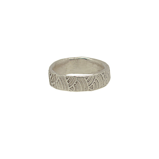 Sterling Silver Textured Wave Ring (Wide Band)