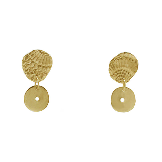 9 CT Gold Textured Wing Drop Earrings