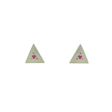 Sterling Silver Triangle Studs with Rubies