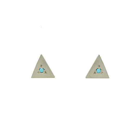 Sterling Silver Triangle Studs with Turquoise