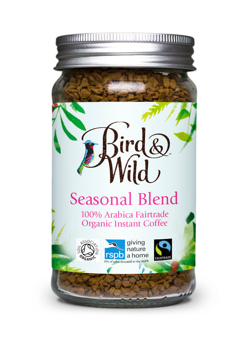 Bird & Wild Fairtrade Organic Instant Coffee, 100% Arabica, 100g Jar (50 Servings).