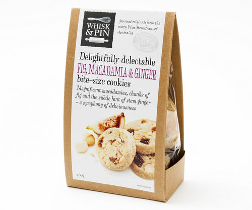 FIG, MACADAMIA & GINGER BITE-SIZE COOKIES 260G