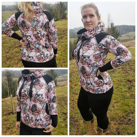 PDF-mønster/pattern: Raglan Hoodie With a Twist woman size 34-54 (US 4-24)