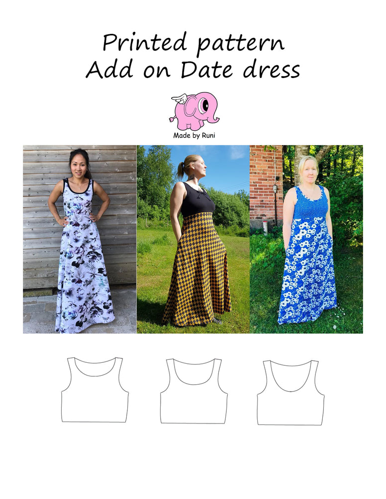 Mønsterark/printed pattern:  Add on Date dress