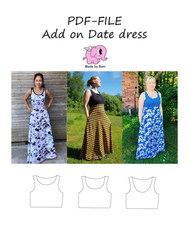 PDF-mønster/pattern: Add on Date dress