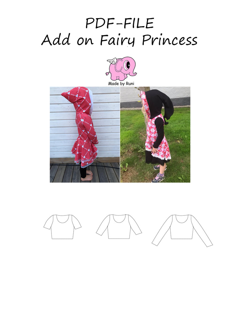 PDF-mønster/pattern: Add on Fairy Princess 80-164