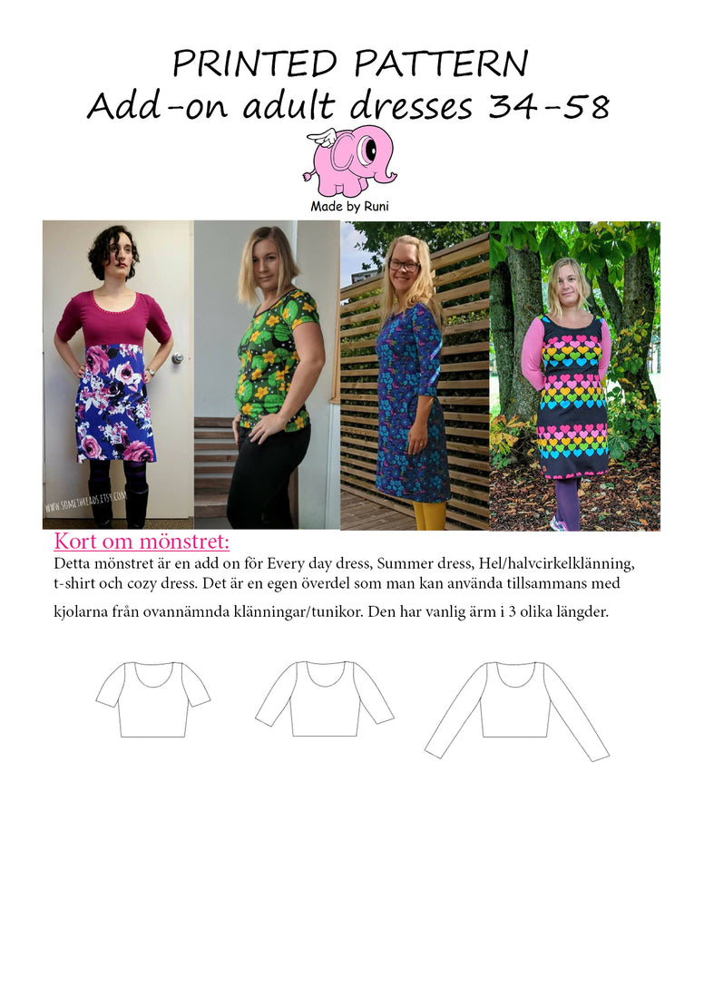 Mønsterark/printed pattern: Add on adult dresses & T-shirt casual fit.
