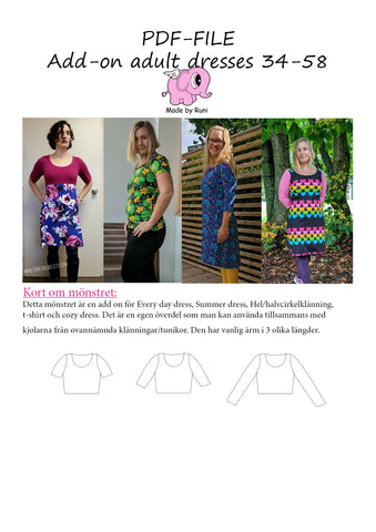 PDF-mønster/pattern: Add on adult dresses & fitted T-shirt