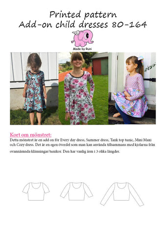 Mønsterark/printed pattern: Add on child dresses
