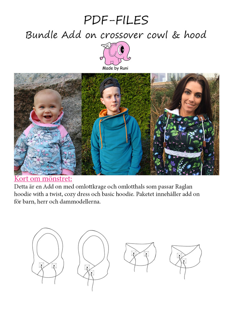 PDF-mønster/pattern: FREE bundle Add on crossover cowl and hood