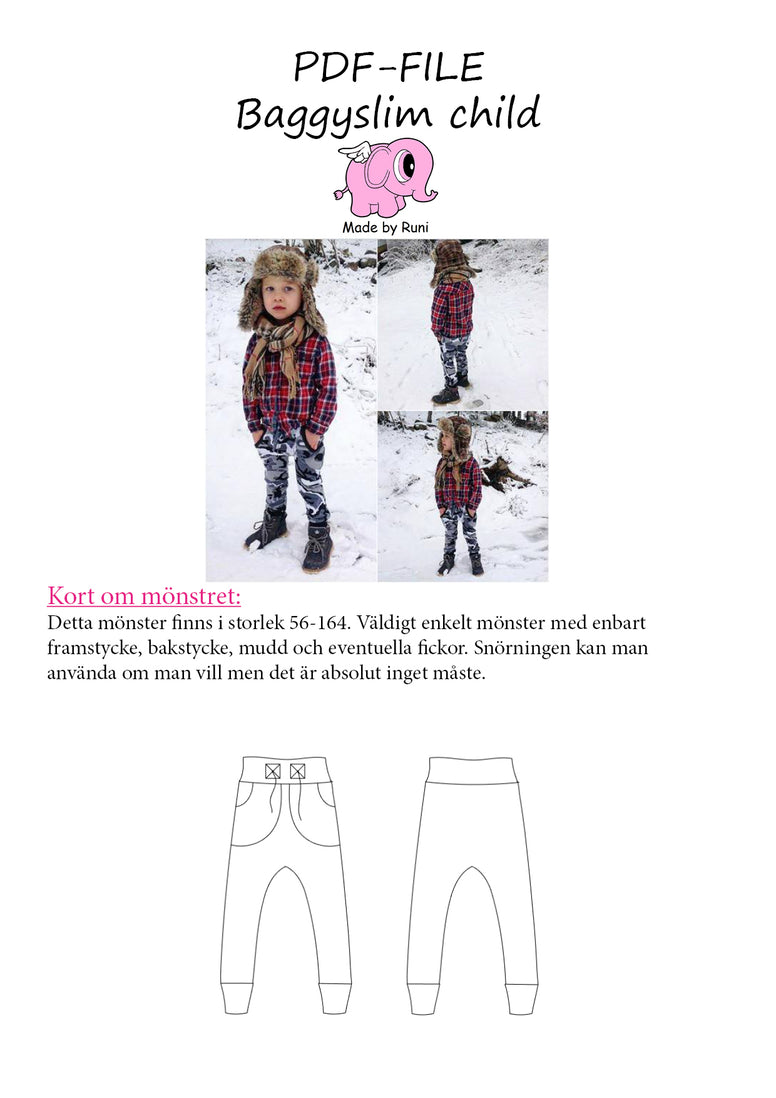 PDF-mønster/pattern: Baggy Slim byxa/pants child size 56-164 (US newborn-14y)