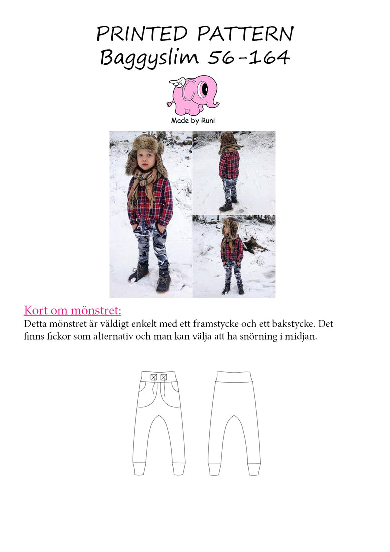 Mønsterark/Printed pattern: Baggy Slim byxa/pants child size 56-164 (US newborn-14y)