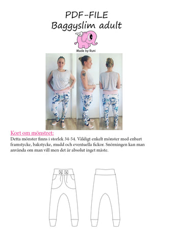PDF-mønster/pattern: Baggyslim byxa/pants adult size 34-54 (US 4-24)