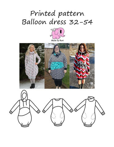 Mønsterark/printed pattern: Balloon dress size 32-54 (2-24)