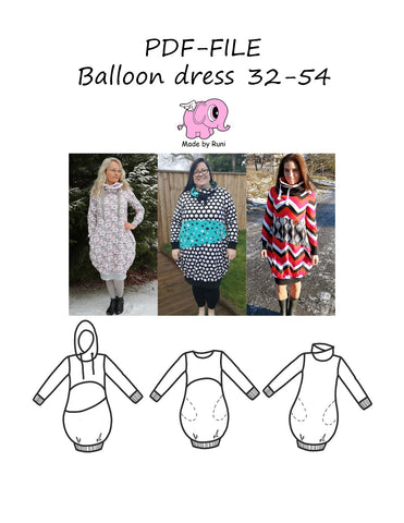 PDF-mønster/pattern: Balloon dress woman size 32-54 (2-24)