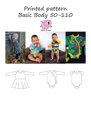 Mønsterark/printed pattern:  Basic body child size 50-110 (US newborn-5y)