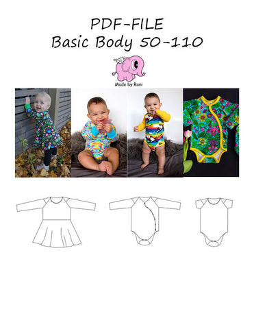 PDF-mønster/pattern: Basic body child size 50-110 (US newborn-5y)