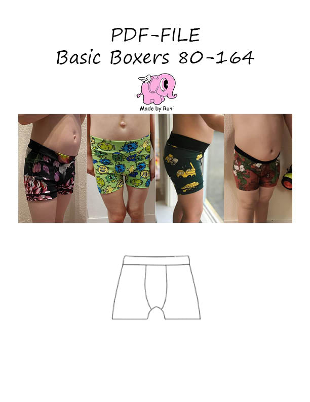 PDF-mønster/pattern: Basic boxer child 80-164