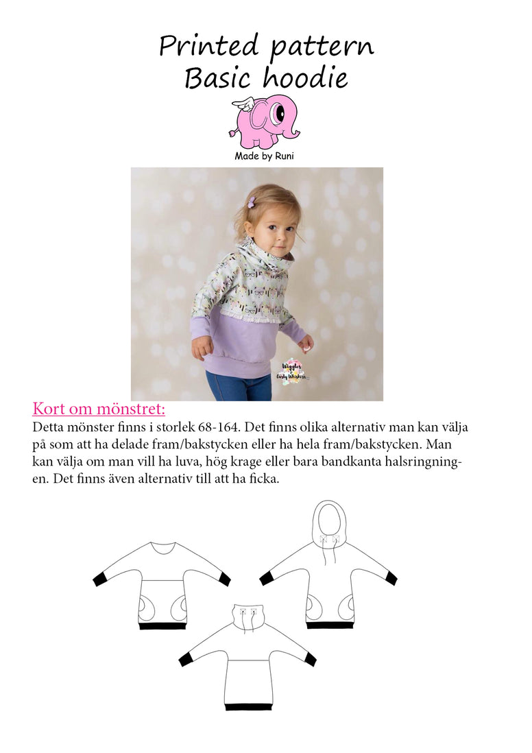 Mønsterark/printed pattern: Basic Hoodie child size 68-164 (US 6mo-14y)