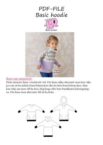 PDF-mønster/pattern: Basic Hoodie child size 68-164 (US 6m-14y)