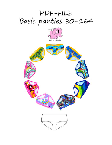 PDF-mønster/pattern: Basic panties child 80-164