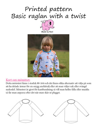 Mønsterark/printed pattern: Basic Raglan With a Twist child size 80-164 (US 12mo-14y)
