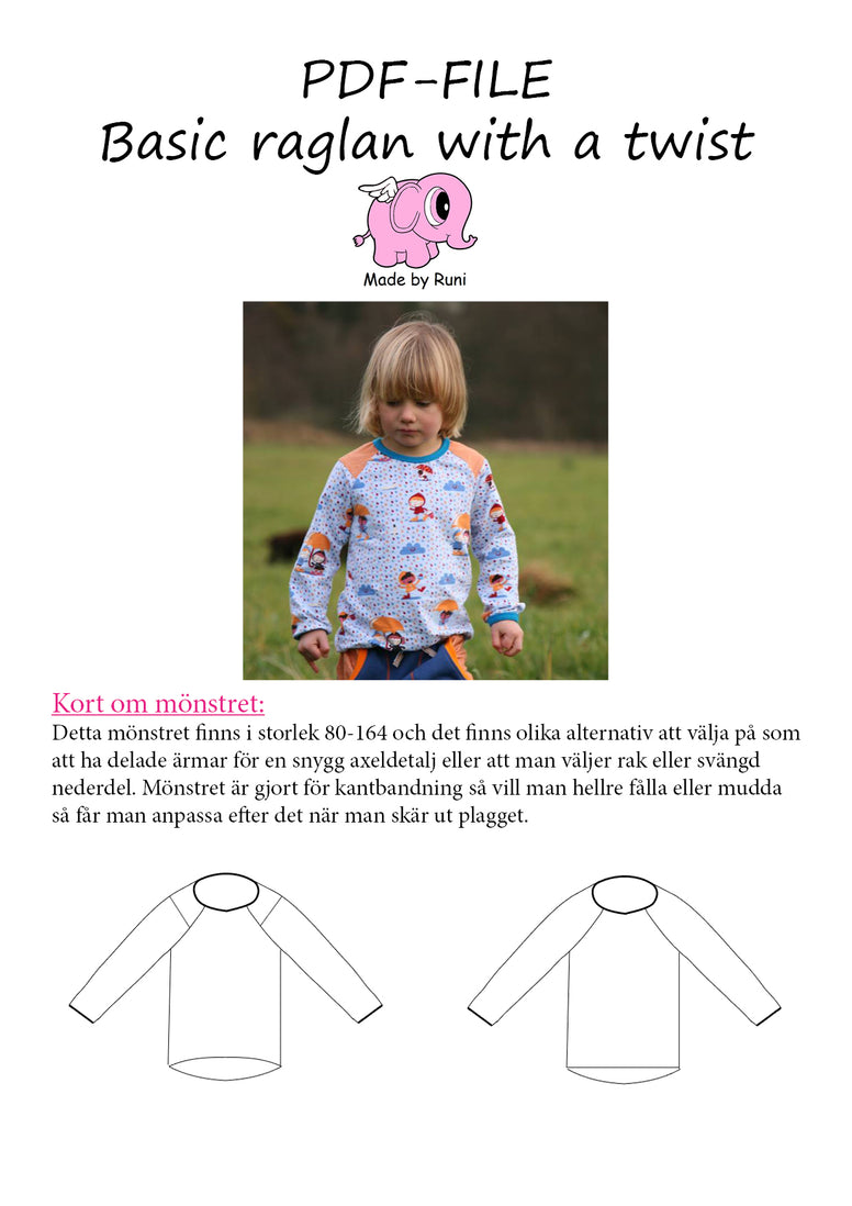 PDF-mønster/pattern: Basic Raglan With a Twist child size 80-164 (US 12m-14y)