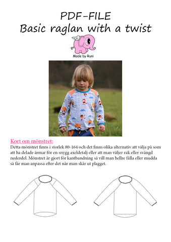 PDF-pakke/bundle: Basic raglan child + adult fitted cut