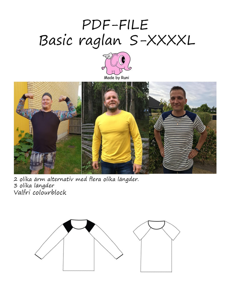PDF-mønster/pattern: Basic Raglan adult straight cut size S-XXXXL