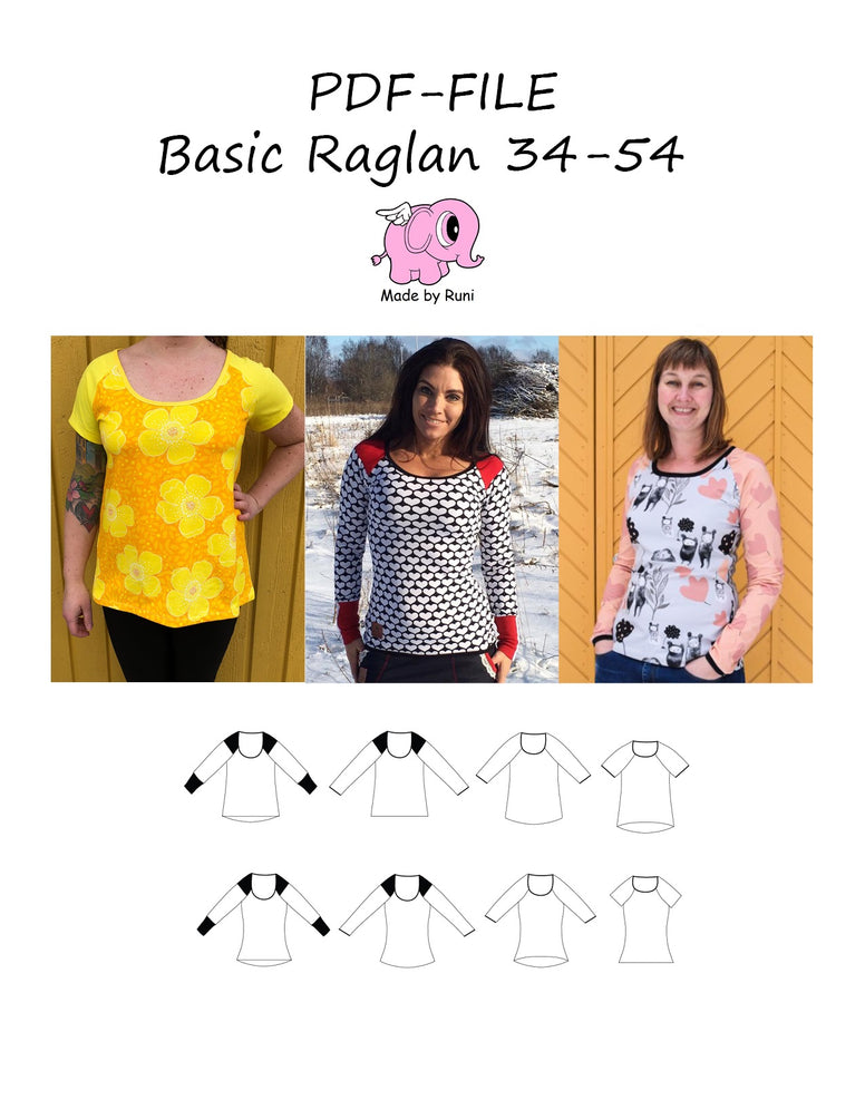 PDF-mønster/pattern: Basic Raglan adult fitted size 34-54 (US 4-24)