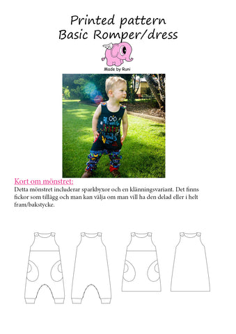 Mønsterark/printed pattern: Basic Romper/Dress child size 50-110 (US newborn-5m)