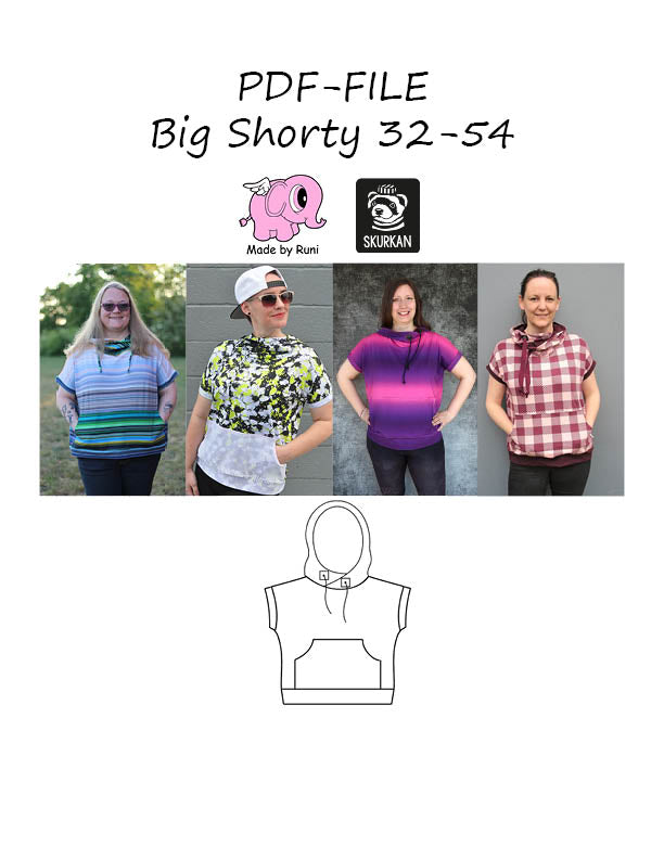 PDF-mønster/pattern: Big Shorty adult size 32-54 (2-24)
